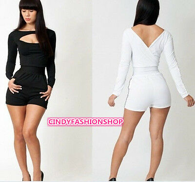NEW Womens Ladies O Neck long Sleeve Bodycon Jumpsuit&Romper Trousers Clubwear