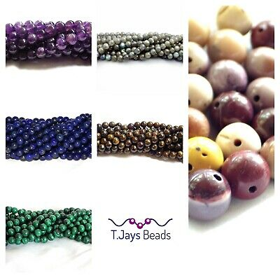 6mm Gemstone Round Beads Jewellery Making - approx 60-66 beads