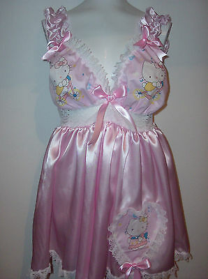 ADULT BABY SISSY HELLO KITTY  PARTY DRESS/ BABY DOLL IN PINK AND WHITE