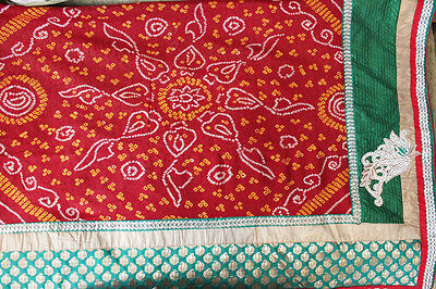 Bhandani and Brocade Half Saree Red and Green Indian