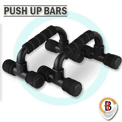 PUSH UP BAR HANDLE PUSH-UP STAND GRIP for HOME FITNESS EXSERCISE WORKOUT BLACK