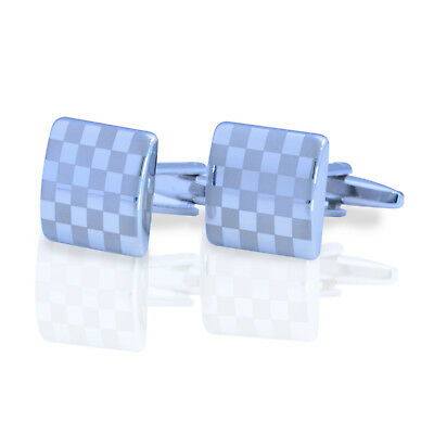 Silver Square CUFFLINKS Lattice Pattern Wedding Business Mens