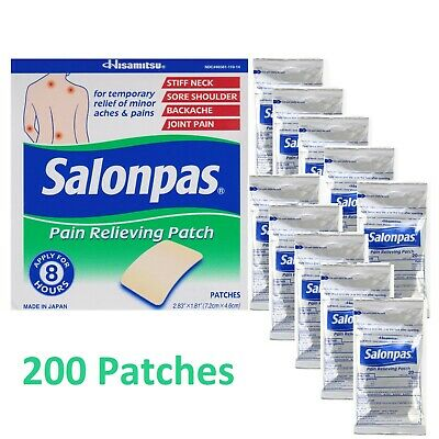 Salonpas Pain Relieving Patch 200 patches 7.2 x 4.6cm Hisamitsu Japan 2019 exp