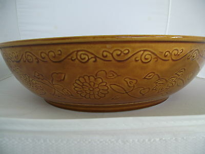 """Vintage HYALYN Pottery Bowl # 591 LARGE 14 5/8"""" Floral Gold Mid-Century Modern"""