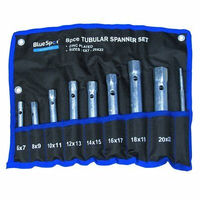 8PC TUBULAR BOX SPANNER BACK NUT TAP WRENCH SET MONOBLOC 6-22mm & NYLON WALLET