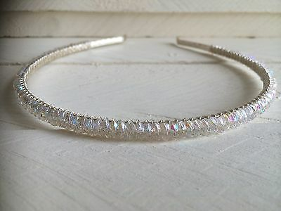 Handmade New Sparkly Fire Polished Glass Headband Hairband Wedding Bridal Prom