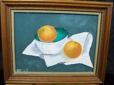 SWEET MID 20th CENTURY CLASSIC FRUIT STILL LIFE SCENE OIL ON BOARD PAINTING