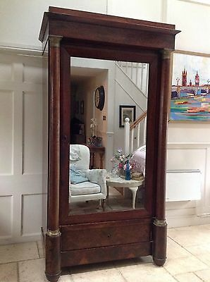 Antique French Empire Style Early C19th Walnut Armoire Wardrobe Hall Cupboard