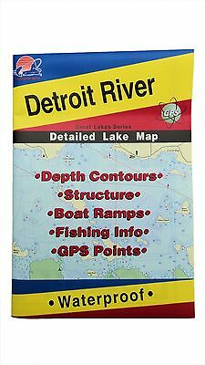 Detroit River Detailed Lake Map, GPS Points, Waterproof, Depth Contours #L131