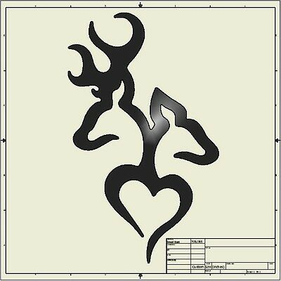 cnc dxf file ( Browning Buck Dow Heart )