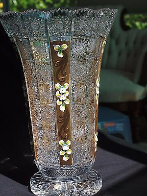 Beautiful Czech Bohemian Large Hand-cut Crystal Vase with Gold & Paint Accents