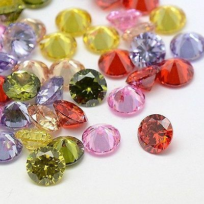 10pcs Mixed Color Diamond Shape Cubic Zirconia Cabochons Faceted DIY Beads 6x4mm