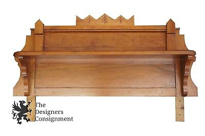 Unique Antique Arts & Crafts Carved Backsplash Shelf Handmade Sideboard Dresser