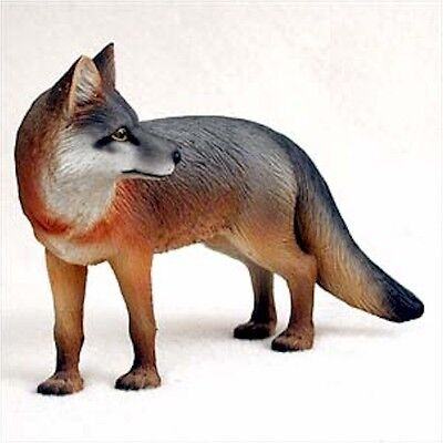 Realistic Hand Painted Cold Cast Stone Resin Gray Fox Display Figurine