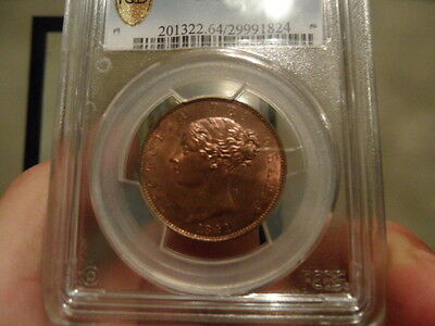 Superb 1841 Queen Victoria Half-Penny PCGS Cert MS64!!