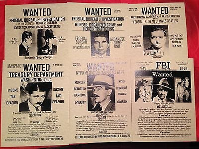 reward posters~SET OF(6)GANGSTER POSTERS