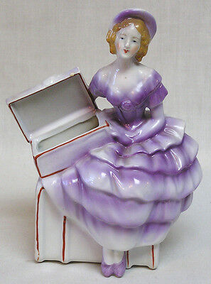 Lady Planter in Purple Gown and Hat Holds Open Jewelry Box Planter Section