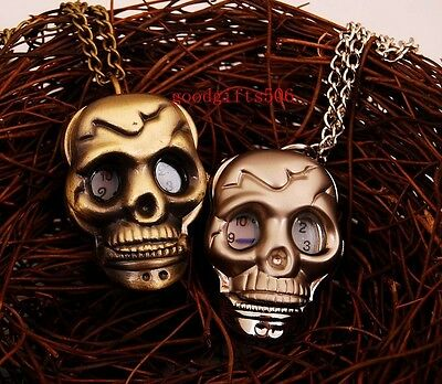 Lovely 10pcs Skull Punk Boys girls lady Necklace watches gifts LK3-FREE P&P