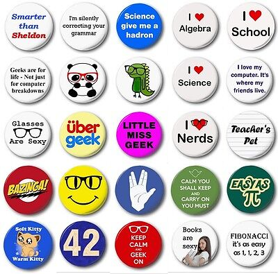 "GEEKS  (Various Designs) - 1"" / 25mm Button Badge - Novelty Biscuits Nerds"
