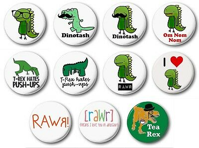 "DINOSAURS  (Various Designs) - 1"" / 25mm Button Badge - Novelty Cute"