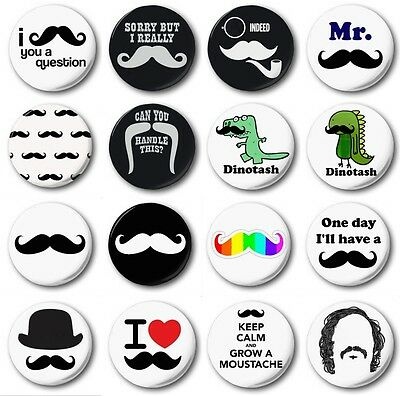"MOUSTACHES (Various Designs) - 1"" / 25mm Button Badge - Novelty Cute"