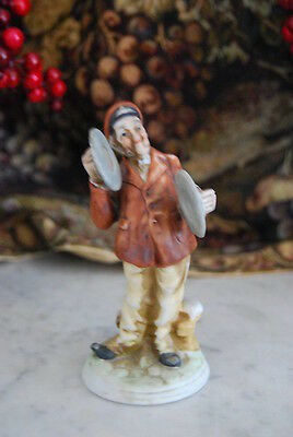 WONDERFUL VINTAGE CAPODIMONTE STYLE MUSICAL CYMBAL PLAYER  HP PORCELAIN FIGURINE