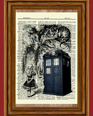 Alice in Wonderland Dictionary Art Print Book Picture Fairy Tale Poster Flowers