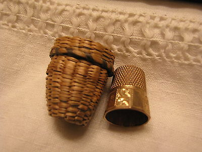 Antique 14K Solid Gold Thimble #8 In Original Case Marked 4.9 G.