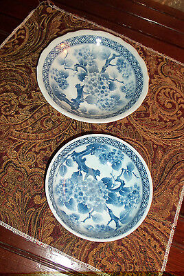 BLUE & WHITE PORCELAIN ASIAN BOWLS - 2 SIZES - SET of 2 - MADE IN JAPAN