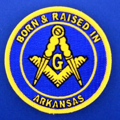 2 Master Mason Born And Raised in Arkansas  Masonic Patches