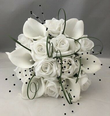 Artificial White Calla Lily Rose Wedding Flowers Bridesmaid Bouquet Silver Black