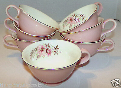 Vintage Taylor Smith Taylor Versatile Coffee Cup Pink Flower Fern 1960s Set of 7