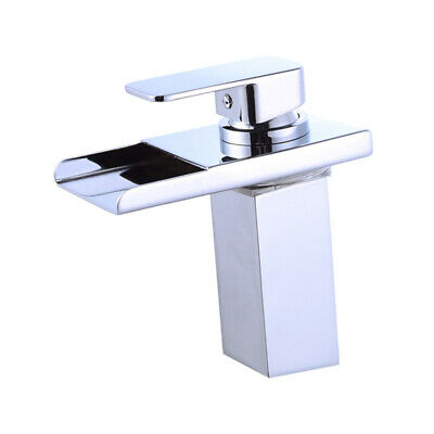"""7"""" LED Bathroom Sink Faucet Vessel Waterfall Chrome Water Flow One Hole/Handle"""