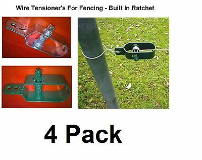 Wire Fence Tensioner 4 Pack -  Ratchet Type - Natural or Galvanised Green