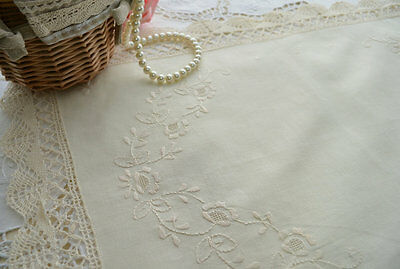 Ecru Bobbin Lace Embroidered Doily Placemat Handmade Country Cottage Style