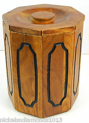 Vintage Barware Mid Century Modern Solid Wood Black Lined Ice Bucket w/ Lid