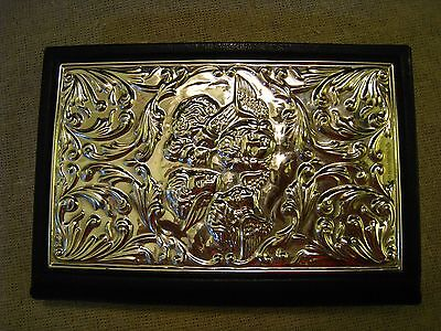 English sterling silver & leather address book with cherubs