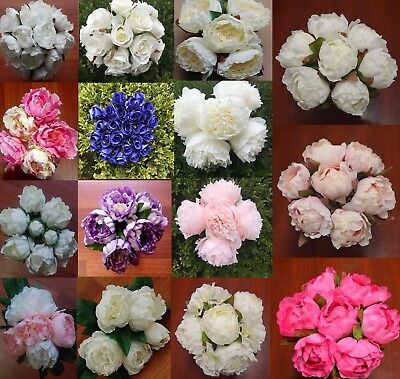 Silk Rose Roses Peony Peonie Peonys Wedding Bouquet Latex Real Touch Pink White
