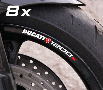 8 x Ducati 1200s wheel decals rim stickers stripes set Monster Laminated!