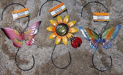 New Metal Garden Hook Plant / Bird Cage Hanger  Butterfly Lady Bug Sunflower