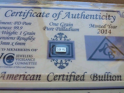 ACB Palladium 99.9 Pure 1GRAIN w/COA Precious Metal Very Rare Bullion PD Bar =