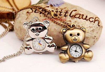 Lovely 10pcs Bear style Boys girls lady steel Necklace Pocket watches gifts LK6