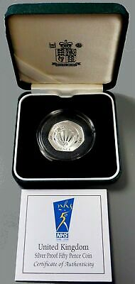 1998 Silver Great Britain 50 Pence Original Box And Coa