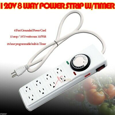 Hydroponic Power Strip Surge Grow Light Timer 8 Outlet 15 Amp 24H