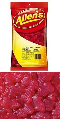 Allens Frogs Alive Red 1.3kg Bag Lollies Buffet Candy Sweets Kids Party Favors