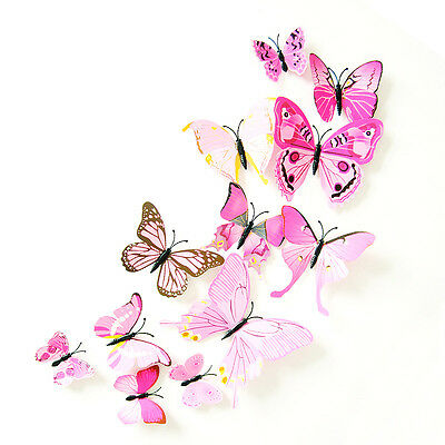 Hot DIY 3D Butterfly Wall Sticker Home Decor Room Decorations Art 12pcs 15Styles