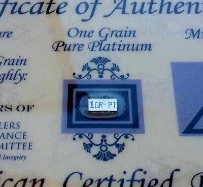 ACB 1GRAIN Platinum 99.9 Pure Bullion Bar in Certificate of Authenticity