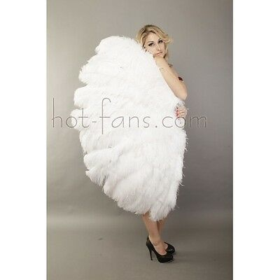 "Custom color 3 Layers White Ostrich Burlesque Feather Fan 65"" dance friend"