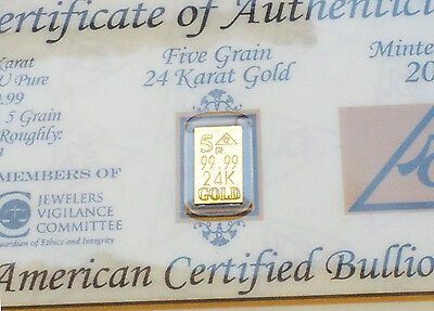 ACB Gold 24k Pure Au Bullion Minted 5Grain Bar with Certificate Invest