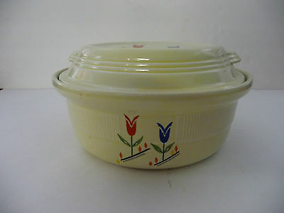 Vintage: Hall's Kitchenware, Piggly Wiggly Covered  Bean Pot/Casserole Dish USA
